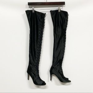 Raye | Black Lace-up Over-the-Knee Heel Boots NEW